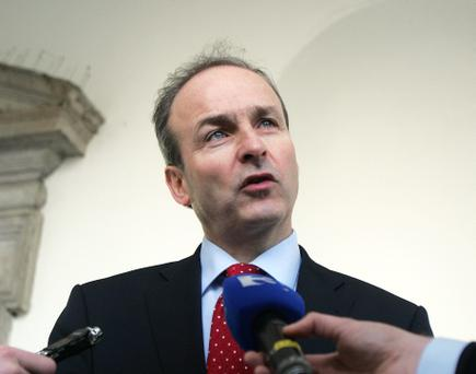 Fianna Fail leader Micheal Martin,TD meeting the media following his meeting with Taoiseach Enda Kenny on the question whehter a referendum is nessassry or not following the EU Treaty deal towards fiscal integration at Leinster House yesterday.Pic Tom Burke 13/12/11