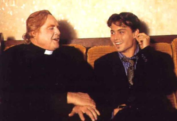 Brando and Johnny Depp on the set of Divine Rapture.