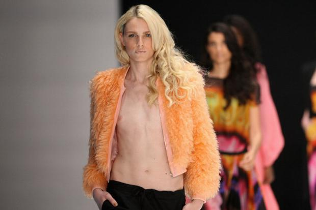 BERLIN, GERMANY - JANUARY 20: Andrej Pejic walks the runway at the Michalsky Autumn/Winter 2012 fashion show during Michalsky StyleNite at Mercedes-Benz Fashion Week Berlin at Tempodrom on January 20, 2012 in Berlin, Germany. (Photo by Adam Berry/Getty Images)