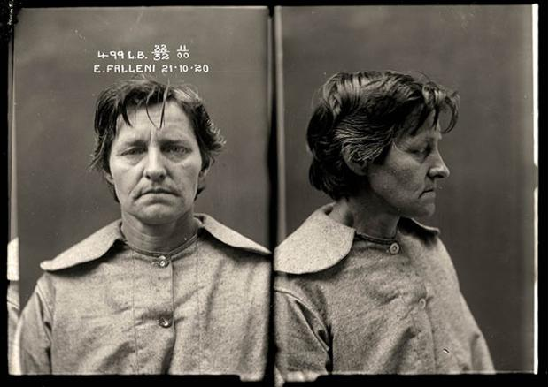 Australia's Justice & Police Museum has released 2,500 photographs of female criminals from the 1920s. The pictures of murderers, bigamists, bootleggers and prostitutes provide a fascnating glimpse into life in Australia in the early 20th Century. We reproduce a small selection of the photos here; to see more, visit the museum's website. <br/> <b>Eugenia Falleni, alias Harry Crawford, criminal record number 499LB, 21 October 1920. Crime: murder. Eugenia Falleni spent most of her life masquerading as a man. In 1913 Falleni married a widow, Annie Birkett, whom she later murdered. The case whipped the public into a frenzy as they clamoured for details of the 'man-woman' murderer. Aged approximately 35. </b>