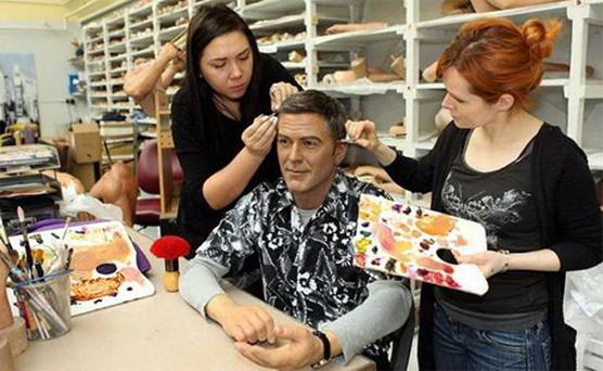 George Clooney wax figure at Madame Tussauds being 'spruced up' ahead of the 2012 Oscars