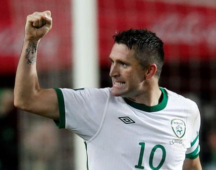 Ireland's Robbie Keane celebrates his first goal against Estonia during their Euro 2012 playoff soccer match at the A Le Coq Arena in Tallinn November 11, 2011. REUTERS/Eddie Keogh (ESTONIA - Tags: SPORT SOCCER)