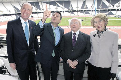 Olympic Development Authority chairman John Armitt, Sebastian Coe, Michael D Higgins and his wife Sabina in London yesterday