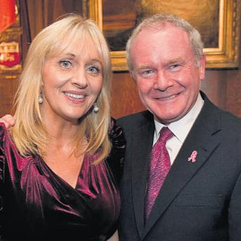 RTE 'Prime Time' presenter Miriam O'Callaghan and Martin McGuinness who was the Sinn Fein candidate for President in last October's elections