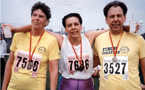 Carol Hutchins is supported by her stepmother Jane and father Alec after completing the Reading Half Marathon in 1993. She was a keen runner before MS struck her down