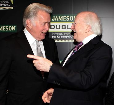 Actor Martin Sheen pictured with President Michael D Higgins at The irish Premiere Screening of the film Stella Days as part of The Jameson Dublin International Film FestivalPic Brian McEvoyNo Repro fee