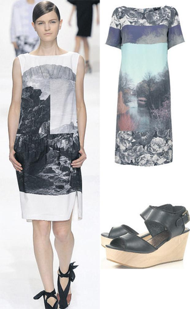 Dress by Autograph, €67 Marks & Spencer; Shoes, €76 at Topshop.com