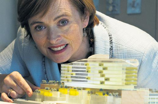 Former CEO of the Children's Hospital of Ireland project Eilish Hardiman, who stepped down last year, with a model of the proposed building at the submission of the planning application to Bord Pleanala. Photo: MARK CONDREN
