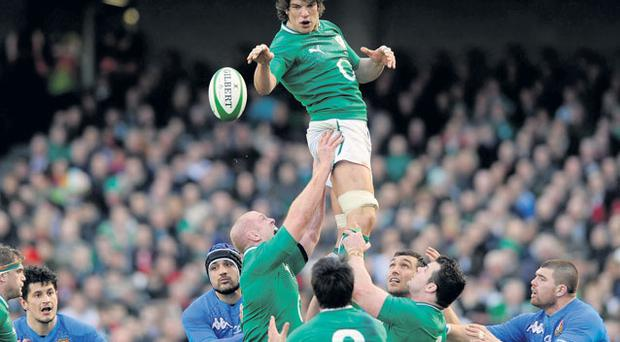 Donncha O'Callaghan secures lineout possession for Ireland in Lansdowne Road yesterday
