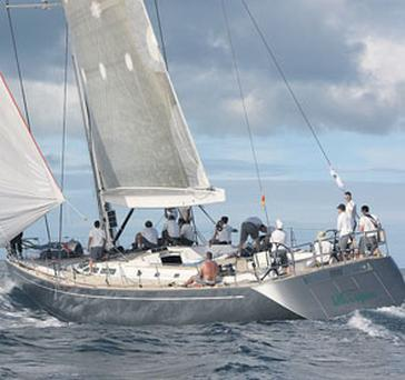A FAIR WIND AND SHE'S OFF: Mick Cotter's super-fast Whisper, goes through her paces