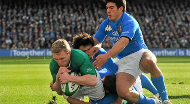 Keith Earls goes over to score his Ireland' s first try. Photo: Sportsfile