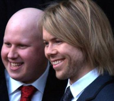 Happier times: Matt Lucas and his former partner Kevin McGee, who took his own life in 2009