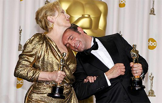 Meryl Streep, Best Actress winner for 'The Iron Lady' and French actor Jean Dujardin, Best Actor winner for 'The Artist'