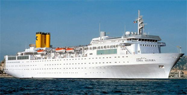 The Costa Allegra cruise ship pictured docked in Genoa, Italy