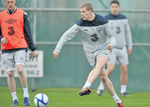 James McClean takes part in the Irish training session at Gannon Park yesterday