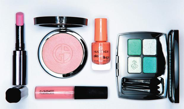 Clockwise from left: Shiseido Shimmering Rouge in Sorbet; Giorgio Armani Sheer Blush in Tourmaline Pink; Essence Colour & Go Quick Drying Nail Polish in C'est La Vie; Lancome Ombre Absolue Palette in Vert Tendresse; Mac Plushglass in Fashion Fanatic