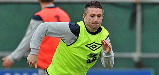 Robbie Keane in action during squad training ahead of the game against the Czech Republic