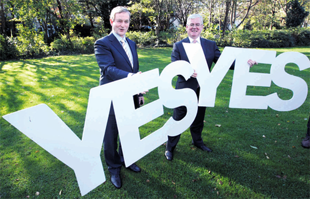Taoiseach Enda Kenny and Tanaiste Eamon Gilmore are calling for a 'yes' vote.