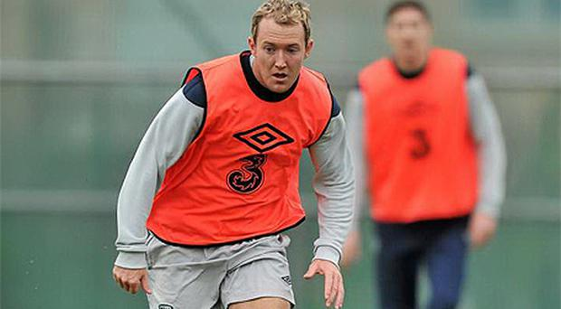 Aiden McGeady goes through his paces during the Irish training session at Gannon Park yesterday