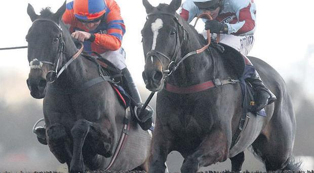 Marufo and Richard Johnson (right) on their way to victory at Newbury yesterday
