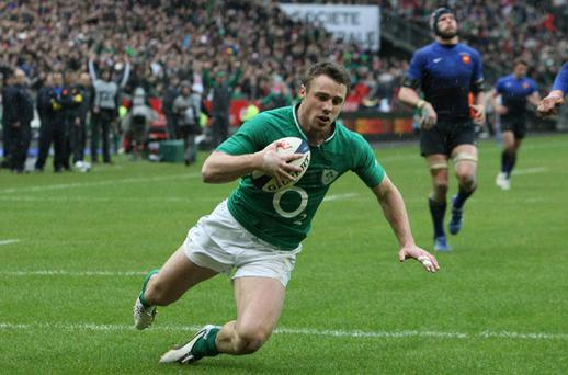 Irelands Tommy Bow scores a try during the RBS 6 Nations match at the Stade de France, Paris, France.