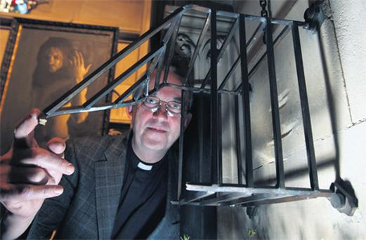 Reverend Dermot Dunne pictured at Christ Church Cathedral in Dublin showing where the wooden box which held the heart of St Laurence O'Toole was held before it was stolen