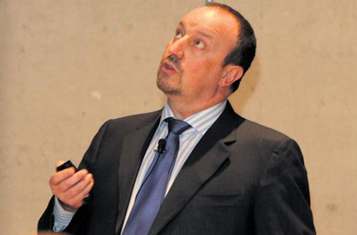 Former Liverpool manager Rafael Benitez was at Trinity College in Dublin yesterday