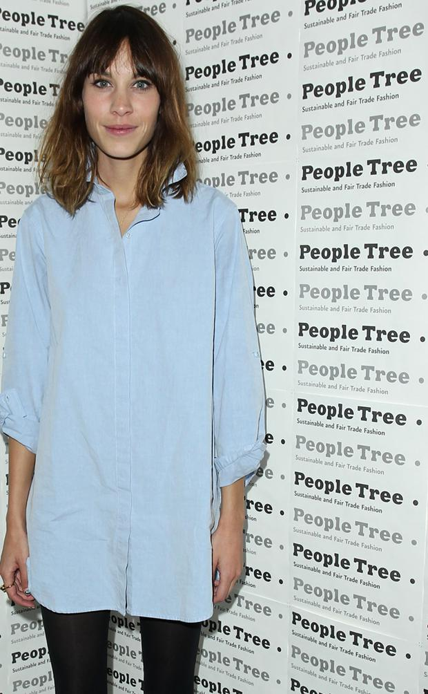 Alexa Chung attends the Fair Trade and environmental fashion and lifestyle label's party on February 16, 2012 in London.