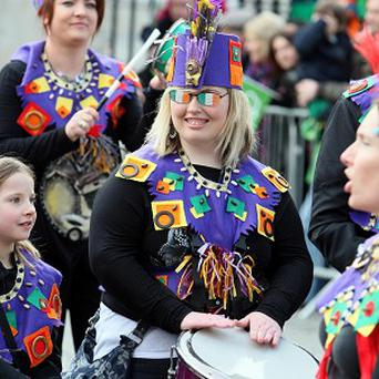 The St Patrick's Day parade moves off from Belfast City Hall