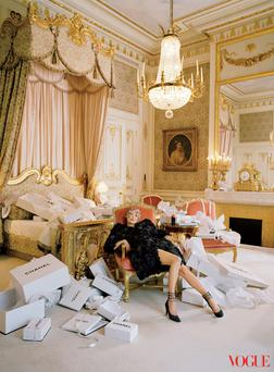 Kate Moss poses in the Coco Chanel suite at the Ritz Paris for US Vogue. Photo: Tim Walker/Vogue