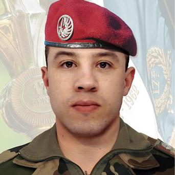 Paratrooper Abel Chennouf, 25, was at a bank machine with two comrades when a gunman on a motorcycle shot him dead (AP)