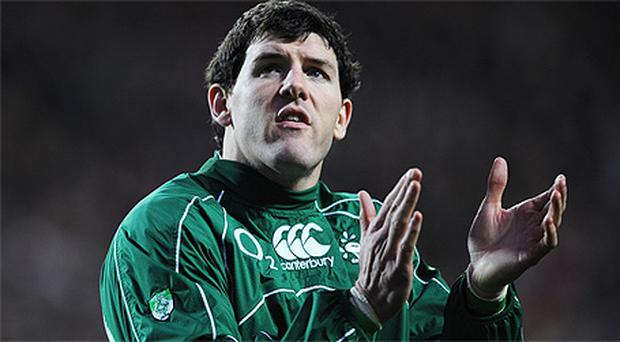 Shane Horgan applauds the crowd after the Six Nations match between Ireland and Scotland at Croke Park in February 2008