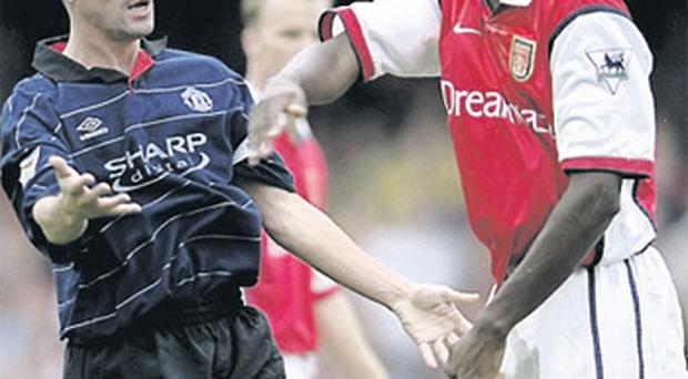 Patrick Vieira and Roy Keane square up during their playing days