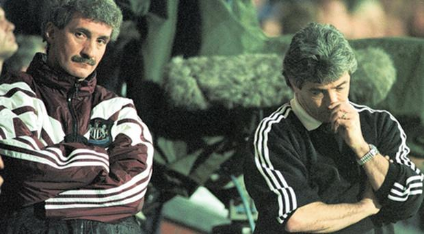 Newcastle's Terry McDermott and Kevin Keegan feel the pain in throwing away a 12 point lead