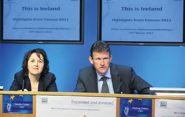 Deirdre Cullen and Padraig Dalton, from the Central Statistics Office, at the launch of the Census 2011 results.