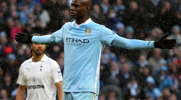 Mario Balotelli in celebration mode after scoring for Manchester City. Photo: Getty Images