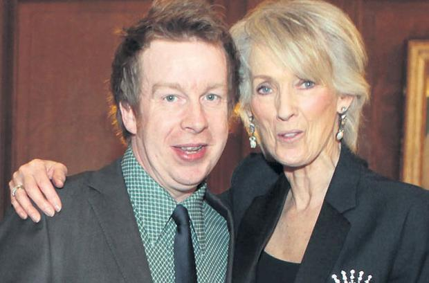 Heir to literary throne: Kevin Barry receives the Short Story award from novelist Joanna Trollope