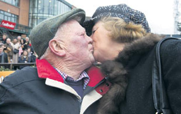 Peter Casey, trainer of 'Flemenstar' with his wife Junie, after winning the Powers Gold Cup yesterday