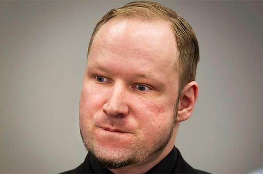 Defendant Anders Behring Breivik, who is expected to give his account of events on the July 22, 2011 attacks at Utoeya island, is pictured in court on the fifth day of his trial in Oslo. Photo: Reuters