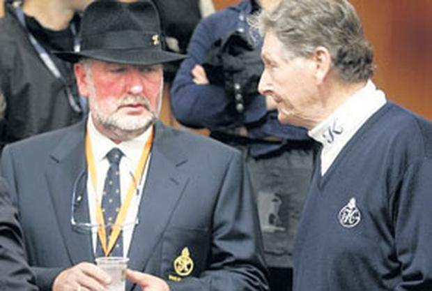 HEADY DAYS: Gerry Gannon and Michael Smurfit at the K Club during the Ryder Cup competition. Photo: Tony Gavin