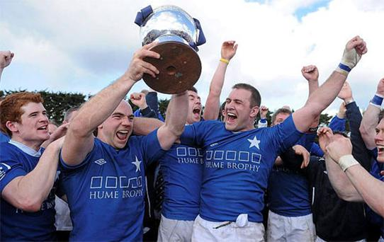 St Mary's College captain Hugh Hogan, centre, celebrates with supporters and team-mates. Photo: Sportsfile