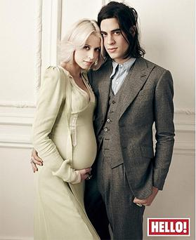 Peaches Geldof with her fiance Thomas Cohen pictured for Hello! magazine