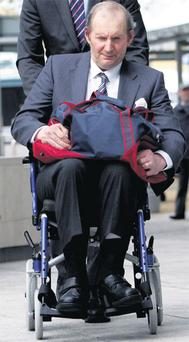 Cecil Tomkins (63), of New Lodge Nursing Home, Stocking Lane, Rathfarnham, Dublin, arriving at court in April