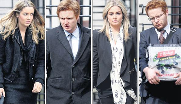 The O'Donnells' four children – (from left to right) Alexandra, Blake, Blaise and Bruce – also attended yesterday's hearing at the Commercial Court, Dublin.