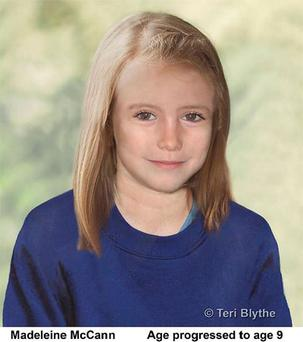 Metropolitan Police undated handout photo of an age progression image of the missing child, Madeleine McCann. Photo: Teri Blythe