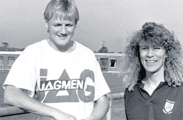 Joe Schmidt with his wife Kellie during his spell in Mullingar in the early 1990s, when he crossed paths with Niall Breslin