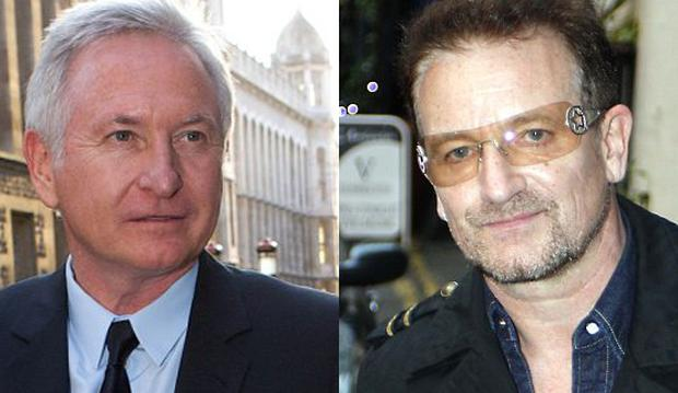 Bono (R) sat with Patrick McKillen (L) and Derek Quinlan in Cannes as they concluded negotiations for the £230 million sale of The Savoy to Prince Al-Waleed Bin Talal in 2004