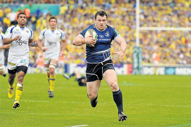 Leinster's Cian Healy runs through to score his side's first and only try of yesterday's Heineken Cup semi-final in Stade Chaban Delmas, Bordeaux