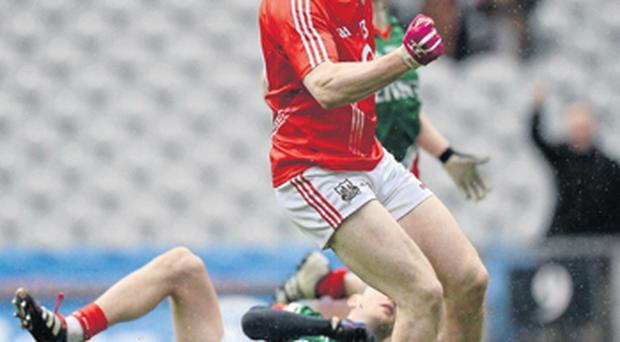 Cork's Colm O'Neill celebrates after scoring his side's first goal during yesterday's Allianz NFL Division 1 final against Mayo