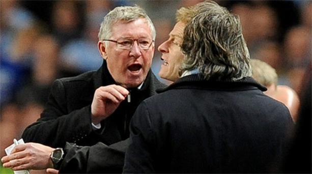 Alex Ferguson gets involved in a touchline spat with Roberto Mancini